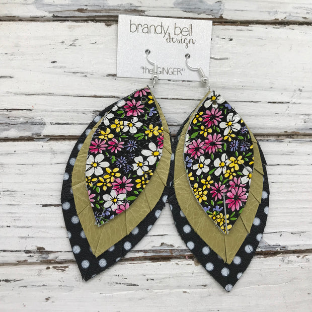 GINGER - Leather Earrings  ||  PINK & YELLOW MINI FLORAL, DISTRESSED OCHRE, BLACK WITH WHITE POLKADOTS
