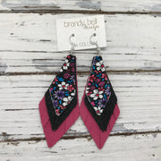 COLLEEN -  Leather Earrings  ||  RED & PURPLE MINI FLORAL, SHIMMER BLACK, MATTE PINK
