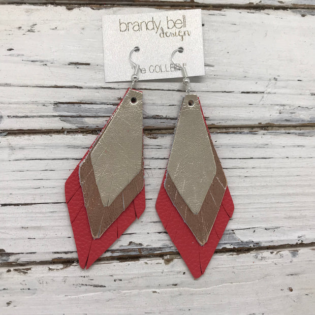 COLLEEN -  Leather Earrings  ||  METALLIC CHAMPAGNE, SMOOTH METALLIC ROSE GOLD, MATTE CORAL PINK