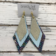 COLLEEN -  Leather Earrings  ||  SHIMMER GOLD, MATTE BABY BLUE, METALLIC MERMAID IN ANTIQUE BLUE/PINK/GREEN