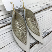 ALLIE -  Leather Earrings  ||  METALLIC GOLD ON IVORY WESTERN FLORAL, PEARL