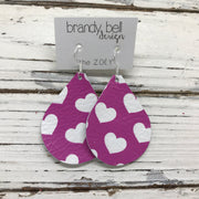 ZOEY (3 sizes available!) - Leather Earrings   ||  PURPLE/PINK HEARTS