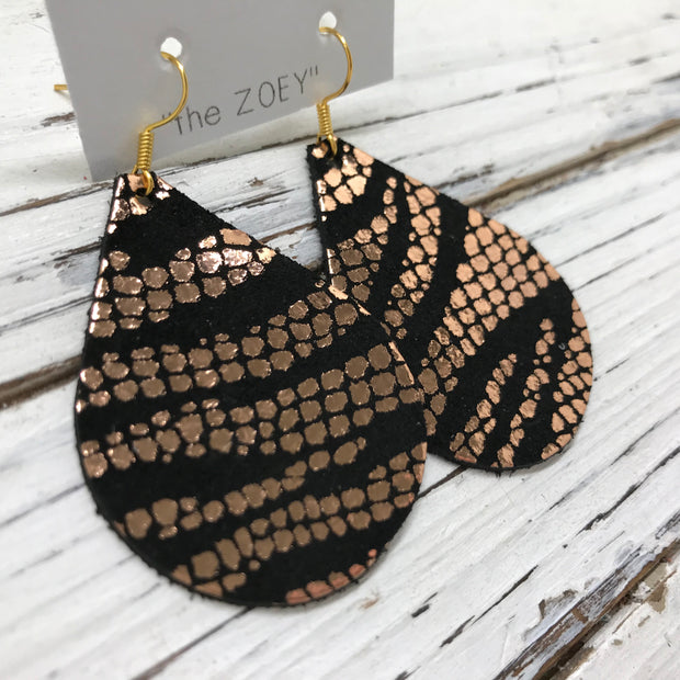 ZOEY (3 sizes available!) -  Leather Earrings  ||  METALLIC ROSE GOLD ON BLACK MOSAIC ZEBRA