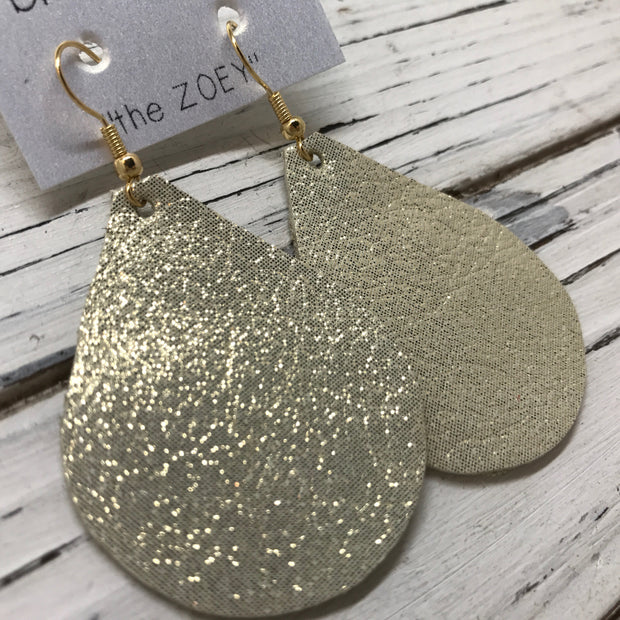 ZOEY (3 sizes available!) - Leather Earrings  ||  SHIMMER GOLD