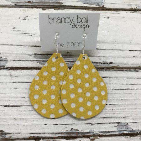miniZOEY + ZOEY -  Leather Earrings  ||  YELLOW WITH WHITE POLKADOTS