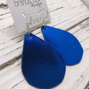 ZOEY (3 sizes available!) - Leather Earrings  ||  METALLIC COBALT BLUE