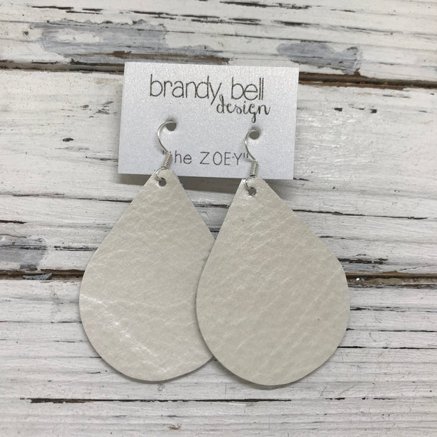 ZOEY (3 sizes available!) -  Leather Earrings  ||  PEARL