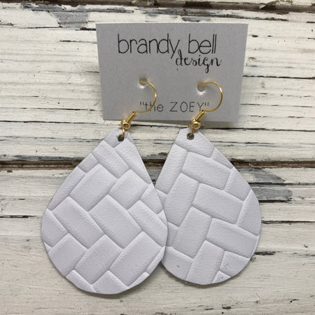 miniZOEY + ZOEY - Leather Earrings  ||  BRIGHT WHITE BASKET WEAVE