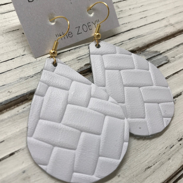 ZOEY (3 sizes available!) - Leather Earrings  ||  BRIGHT WHITE BASKET WEAVE