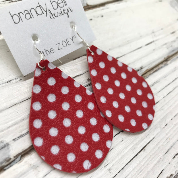 ZOEY (3 sizes available!) -  Leather Earrings  ||  RED WITH WHITE POLKADOTS