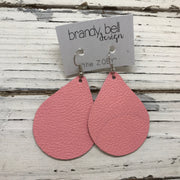 ZOEY (3 sizes available!) - Leather Earrings  ||  MATTE BABY PINK