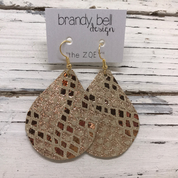 ZOEY (3 sizes available!) - Leather Earrings  ||  METALLIC ROSE GOLD MYSTIC