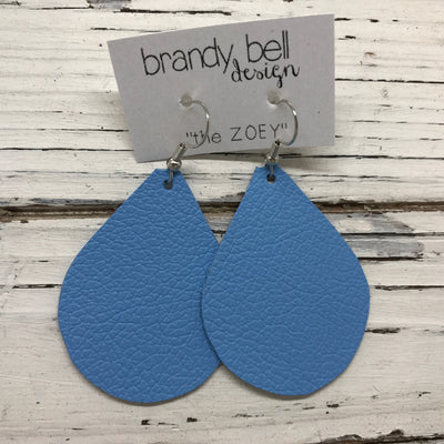 ZOEY (3 sizes available!) - Leather Earrings  ||  MATTE CAROLINA BLUE