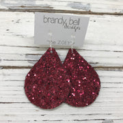 ZOEY (3 sizes available!)-  GLITTER ON CANVAS Earrings  (not leather)  || BURGUNDY GLITTER