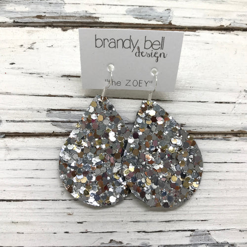 miniZOEY + ZOEY-  GLITTER ON CANVAS Earrings  (not leather)  ||  CHUNKY GOLD & SILVER GLITTER