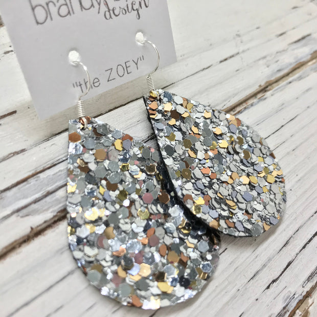 ZOEY (3 sizes available!)-  GLITTER ON CANVAS Earrings  (not leather)  ||  CHUNKY GOLD & SILVER GLITTER