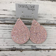 ZOEY (3 sizes available!) -  GLITTER ON CANVAS Earrings  (not leather)  ||  BALLET SLIPPER PINK (FAUX LEATHER)