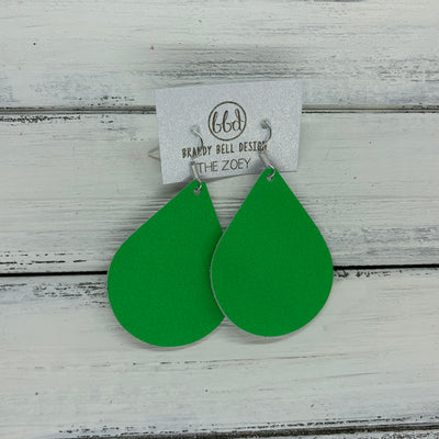 ZOEY (3 sizes available!) -  Leather Earrings  ||   MATTE NEON GREEN