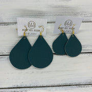 ZOEY (3 sizes available!) -  Leather Earrings  ||   MATTE SPRUCE GREEN