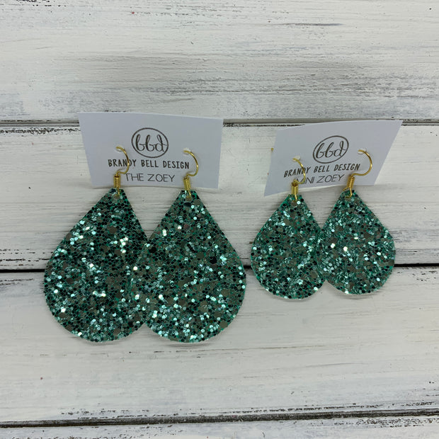 ZOEY (3 sizes available!) -  Leather Earrings  ||   SEAFOAM GREEN GLITTER (FAUX LEATHER)