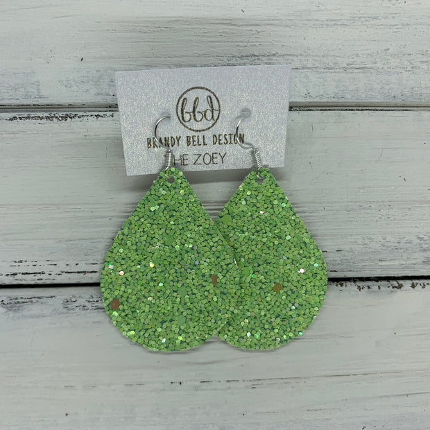 ZOEY (3 sizes available!) -  Leather Earrings  ||   GREEN APPLE GLITTER (FAUX LEATHER)