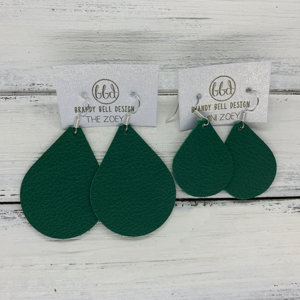 ZOEY (3 sizes available!) -  Leather Earrings  ||   MATTE EMERALD GREEN