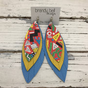 INDIA - Leather Earrings  ||  RED TRIBAL PATTERN, MATTE YELLOW, MATE CAROLINA BLUE