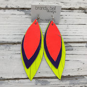 INDIA - Leather Earrings  ||  NEON ORANGE, MATTE PURPLE, MATTE NEON YELLOW