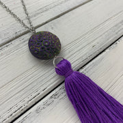 TASSEL NECKLACE - CAROLINA    ||  BRIGHT PURPLE TASSEL WITH  DECORATIVE BEAD