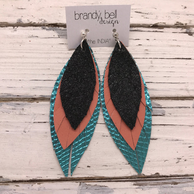 INDIA - Leather Earrings  ||  SHIMMER BLACK, MATTE CORAL, METALLIC AQUA COBRA