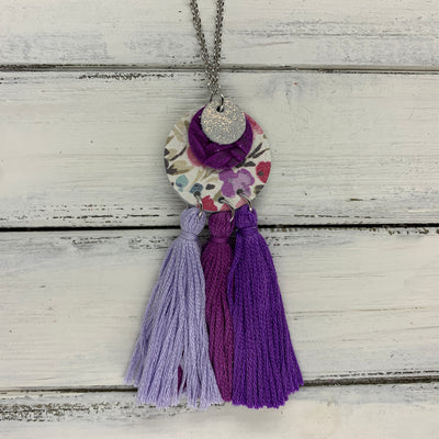 OOAK (One-of-a-Kind) Leather + Tassel Necklace || TOTAL TASSEL TAKEOVER <BR> LIGHT PURPLE, BERRY, PURPLE