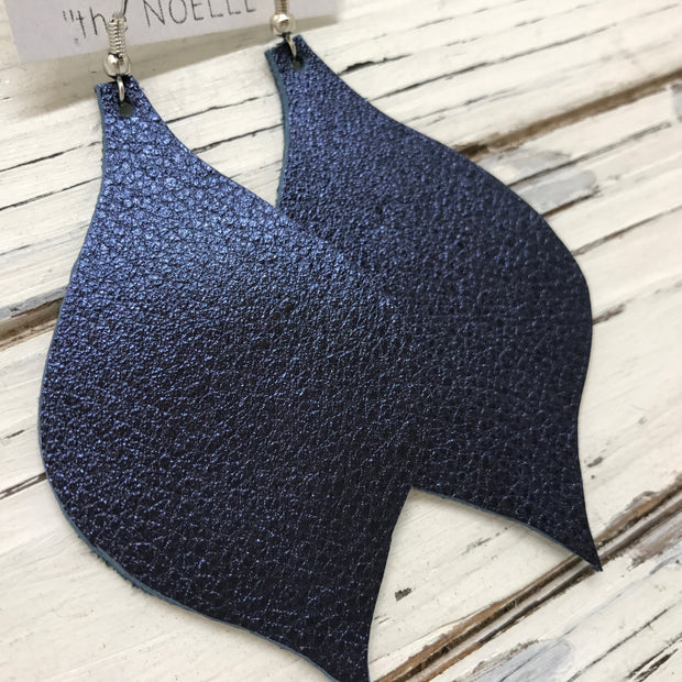 NOELLE - Leather Earrings  || METALLIC TEXTURED NAVY BLUE