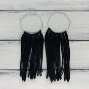HALEY- Tassel Hoop Earrings <BR> BLACK TASSEL FRINGE