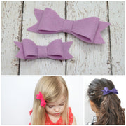 NORA FELT BOW- 3 Pack Felt bows ||  COTTON CANDY, LILAC, SMOKE