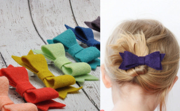 NORA FELT BOW- DESIGN YOUR OWN 3 PACK OF BOWS!  CHOOSE ALLIGATOR CLIP OR NUDE NYLON HEADBAND