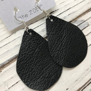 ZOEY (3 sizes available!) - Leather Earrings  || MATTE BLACK
