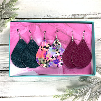 3pk  *ORIGINAL* ZOEY GIFT BOX! Leather Earrings <br> DISTRESSED TEAL, <br> PURPLE FLORAL CHEETAH, <BR> MATTE MAGENTA PURPLE