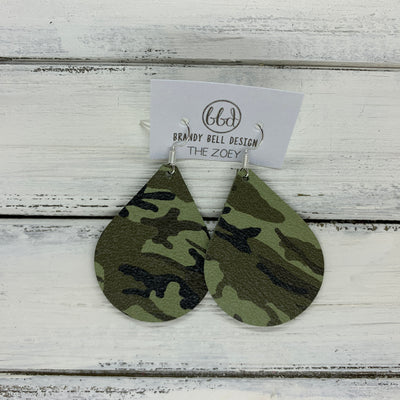 ZOEY (3 sizes available!) -  Leather Earrings  ||   FERN GREEN CAMOUFLAGE