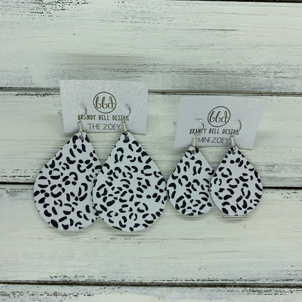 ZOEY (3 sizes available!) -  Leather Earrings  ||  BLACK & WHITE CHEETAH