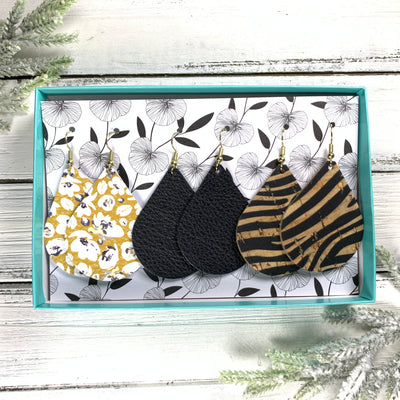 3pk  *ORIGINAL* ZOEY GIFT BOX! Leather Earrings  <br> MUSTARD FLORAL, <BR> MATTE BLACK,<br> NATURAL ZEBRA ON CORK (THICK)