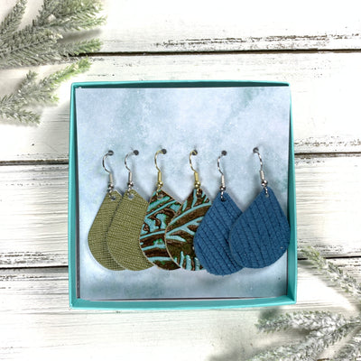 3pk *MINI* ZOEY GIFT BOX! (Mini Size) Leather Earrings <br> OLIVE SAFFIANO, <BR>AQUA WESTERN FLORAL,<BR> TEAL PALMS
