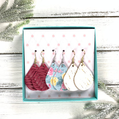 3pk *MINI* ZOEY GIFT BOX! (Mini Size) Leather Earrings <br> MERLOT BRAID, <BR>AQUA FLORAL,<BR> WHITE CORK (THICK)