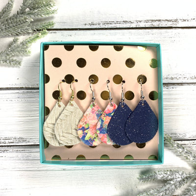3pk *MINI* ZOEY GIFT BOX! (Mini Size) Leather Earrings <br> LINEN BRAID, <BR> PINK FLORAL ON BLUE CORK (THICK),<BR> SHIMMER NAVY