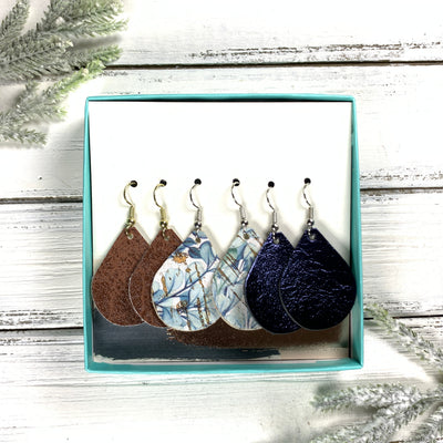 3pk *MINI* ZOEY GIFT BOX! (Mini Size) Leather Earrings <br> BROWN (FAUX LEATHER), <BR> EUCALYPTUS,<BR> METALLIC NAVY