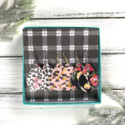 3pk *MINI* ZOEY GIFT BOX! (Mini Size) Leather Earrings <br> FLORAL CHEETAH, <BR> PINK & MUSTARD ANIMAL PRINT,<BR> PINK FLORAL ON BLACK