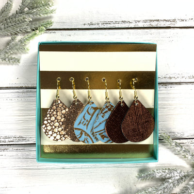 3pk *MINI* ZOEY GIFT BOX! (Mini Size) Leather Earrings <br> ROSE GOLD DRIPS ON BROWN, <BR> BLUE WESTERN FLROAL,<BR> METALLIC BROWN SAFFIANO