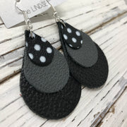 LINDSEY - Leather Earrings  ||   BLACK WITH WHITE POLKADOTS, MATTE DARK GRAY, MATTE BLACK