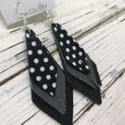 COLLEEN -  Leather Earrings  ||  BLACK WITH WHITE POLKADOTS, MATTE DARK GRAY, MATTE BLACK