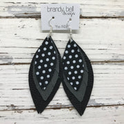 INDIA - Leather Earrings  ||   BLACK WITH WHITE POLKADOTS, MATTE DARK GRAY, MATTE BLACK