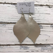 NOELLE - Leather Earrings  || METALLIC CHAMPAGNE/IVORY